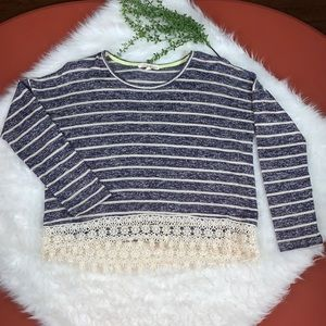 Blue/ Ivory Striped Sweater~Crocheted Lace Trim